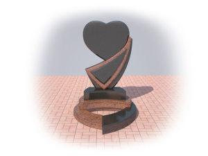 Гранитный памятник в виде сердца фото