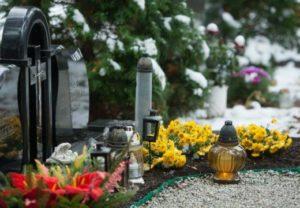 Желтые цветы, посаженные на могиле фото